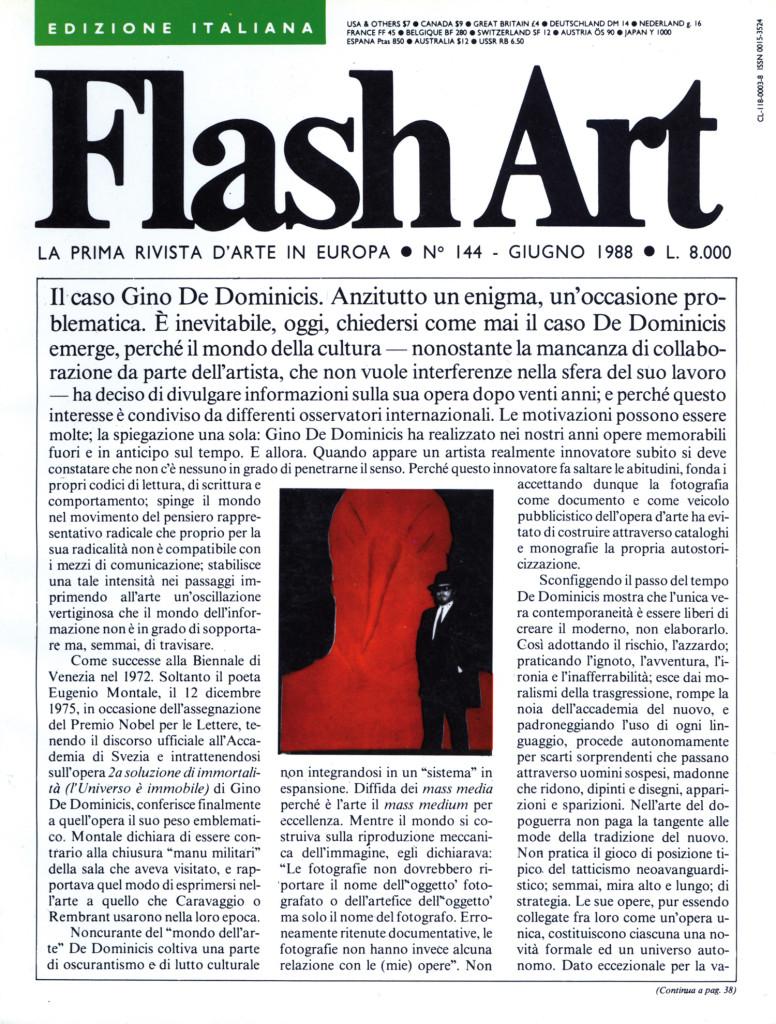 Copertina di Flash Art n° 144 (1988).