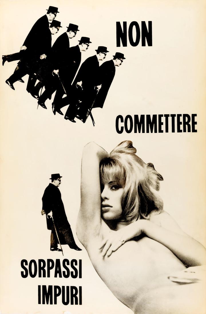 Non commettere sorpassi impuri, 1964-65. Collage plastificato. 100 x 65,5 x 1,5 cm. Courtesy Archivio Ketty La Rocca, Firenze.