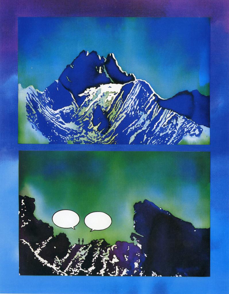 Marcello Jori, E lassù sulle montagne, 1983. Inchiostri acrilici su carta. 49 x 31,5 cm. Tavola pubblicata su Frigidaire no. 33, 1983.